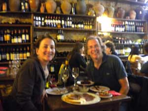 Alison and Luc enjoying an evening at Bodega LaTinaja, Barcelona, Spain.