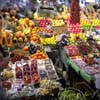 Amazing fruit display at La Boqueria Market in Barcelona, Spain.