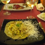 A salty pasta dish at Classic Gotic, Barcelona, Spain.