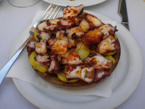 Marinated octopus topped with spicy paprika at Restaurant Sailor.