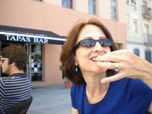 Alison enjoying the tapas peppers at Cavamar.